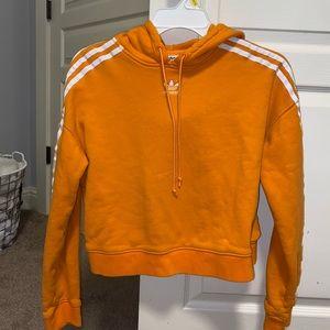 Adidas cropped orange hoodie